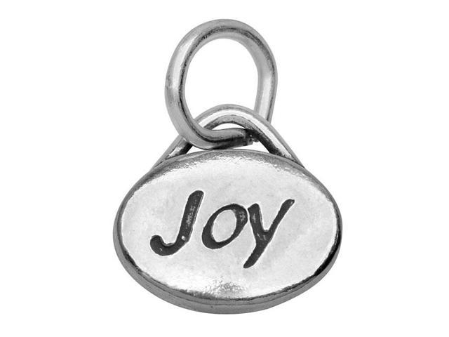 Lead-Free Pewter Message Charm, 'Joy' 11x8mm, 1 Piece, Antiqued Silver