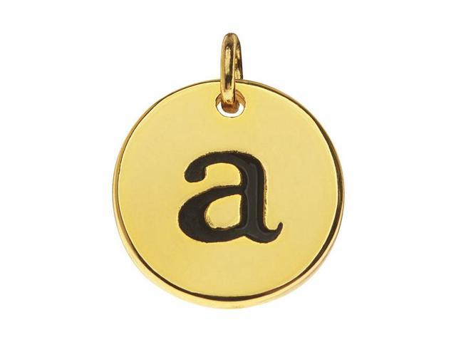 Lead-Free Pewter, Round Alphabet Charm Letter 'a' 13mm, 1 Pc., Gold Plated