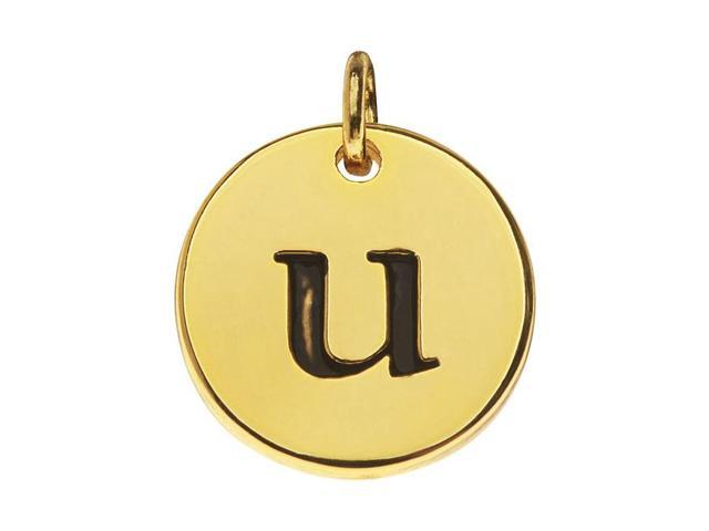 Lead-Free Pewter, Round Alphabet Charm Letter 'u' 13mm, 1 Pc., Gold Plated