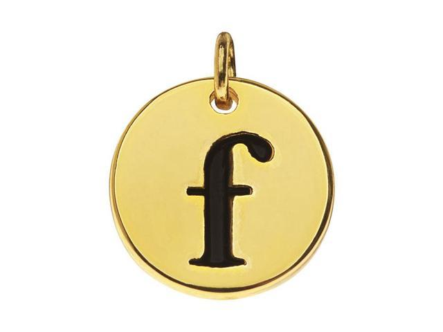Lead-Free Pewter, Round Alphabet Charm Letter 'f' 13mm, 1 Pc., Gold Plated