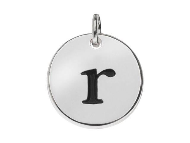 Lead-Free Pewter, Round Alphabet Charm Letter 'r' 13mm, 1 Pc., Silver Plated