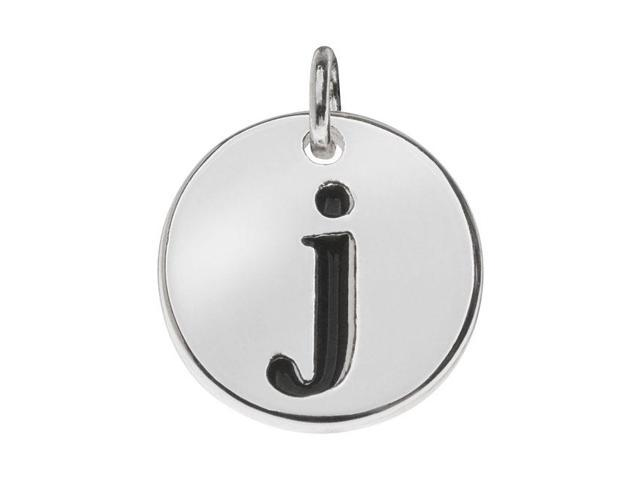 Lead-Free Pewter, Round Alphabet Charm Letter 'j' 13mm, 1 Pc., Silver Plated