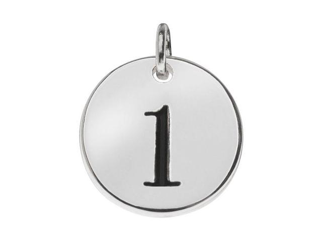 Lead-Free Pewter, Round Number Charm '1' 13mm, 1 Piece, Silver Plated