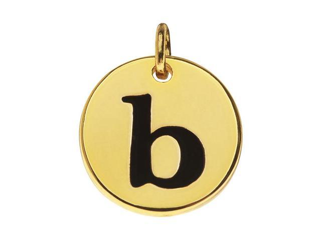 Lead-Free Pewter, Round Alphabet Charm Letter 'b' 13mm, 1 Pc., Gold Plated