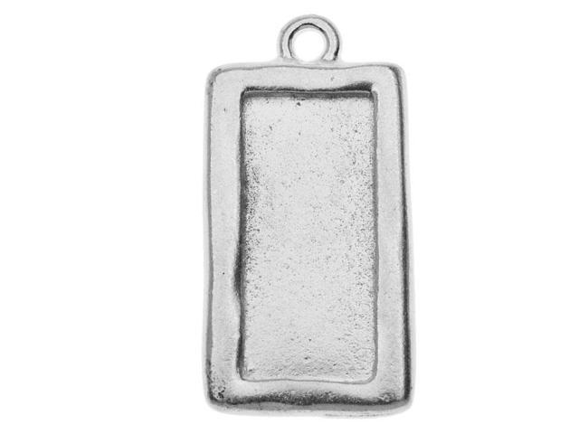 Rhodium Plated Pewter Rectangle Picture Frame Pendant 31mm (1)