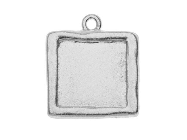 Rhodium Plated Pewter Square Picture Frame Pendant 25mm (1)