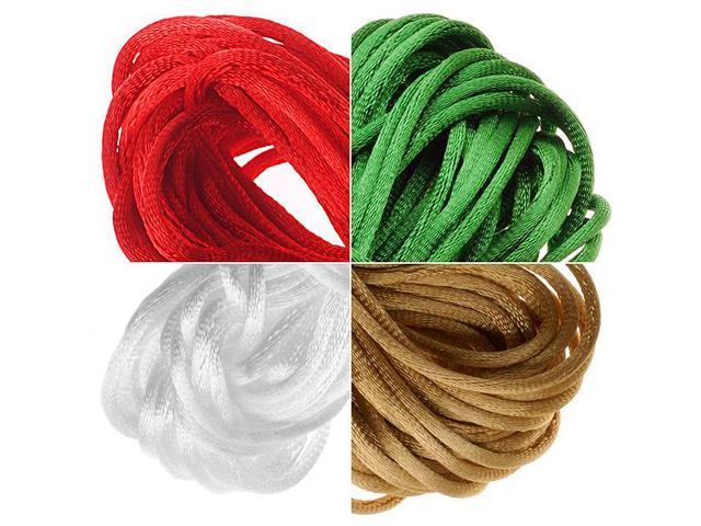 Satin Rattail Cord 1mm Christmas Mix 4 Color 6 Yd Ea - White, Gold, Red, Green