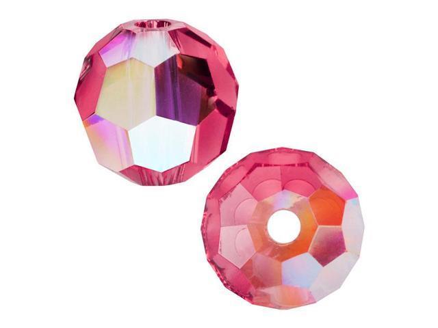Swarovski Crystal, #5000 Round Beads 8mm, 8 Pieces, Indian Pink AB