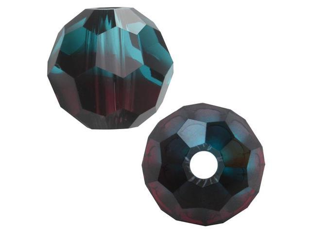Swarovski Crystal, #5000 Round Beads 10mm, 6 Pcs, Burgundy Blue Zircon Blend