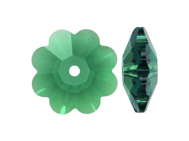 Swarovski Crystal, #3700 Flower Margarita Beads 10mm, 6 Pieces, Erinite