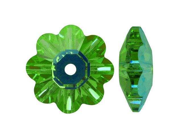 Swarovski Crystal, #3700 Crystal Flower Margarita Beads 8mm, 12 Pcs, Erinite AB