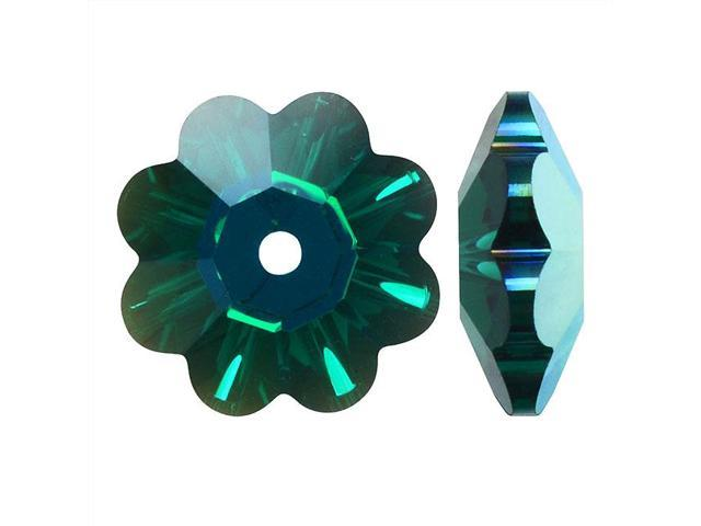 Swarovski Crystal, #3700 Crystal Flower Margarita Beads 8mm, 12 Pcs, Emerald AB