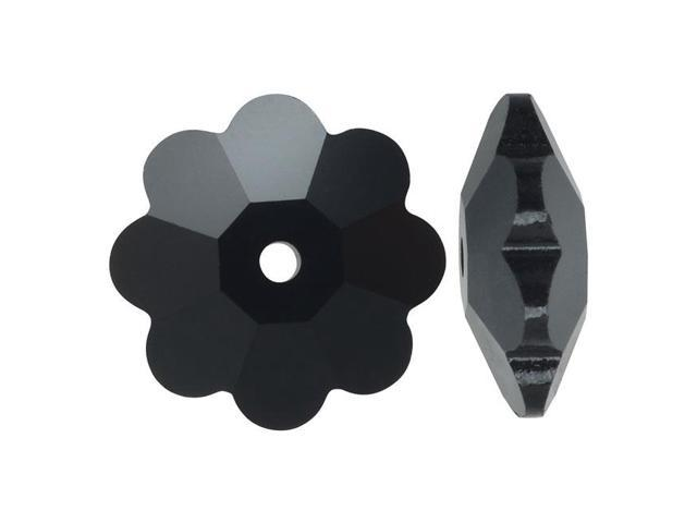 Swarovski Crystal, #3700 Flower Margarita Beads 6mm, 12 Pieces, Jet Black
