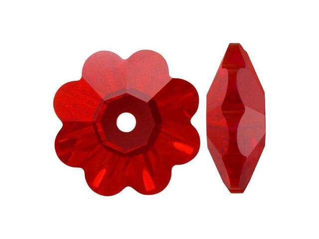 Swarovski Crystal, #3700 Flower Margarita Beads 6mm, 12 Pieces, Light Siam