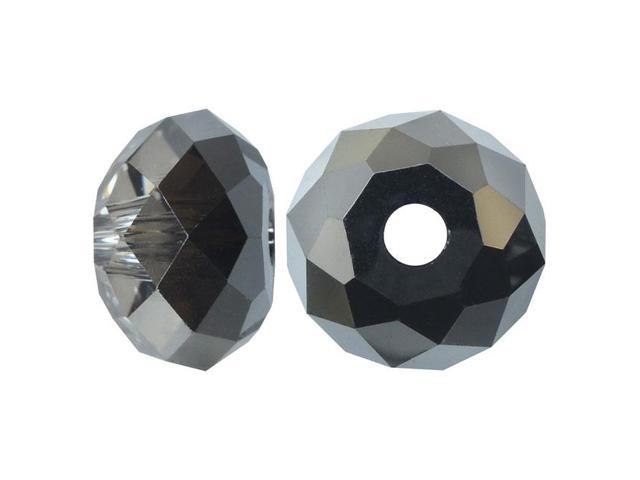 Swarovski Crystal, #5040 Rondelle Beads 12mm, 2 Pieces, Crystal Silver Night