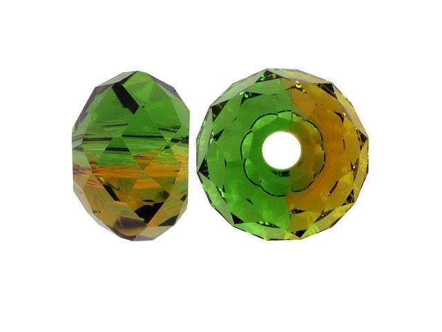 Swarovski Crystal, #5040 Rondelle Beads 6mm, 10 Pieces, Fern Green - Topaz Blend