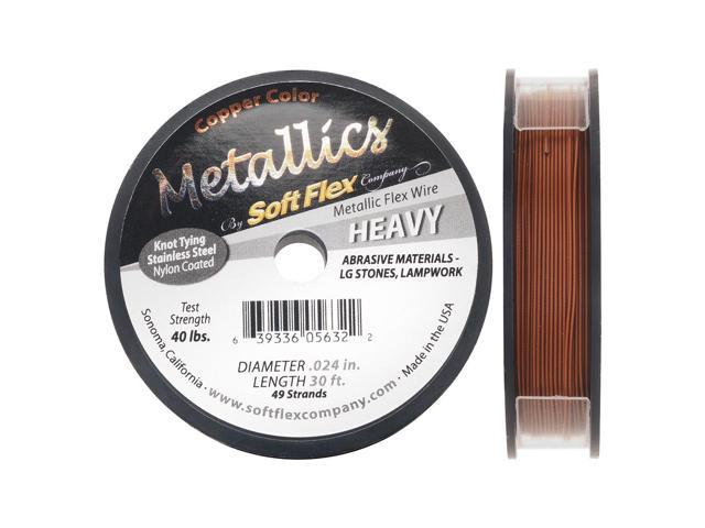 Soft Flex Metallics, 49 Str Heavy Beading Wire .024 Inch, 30 Feet, Copper Color