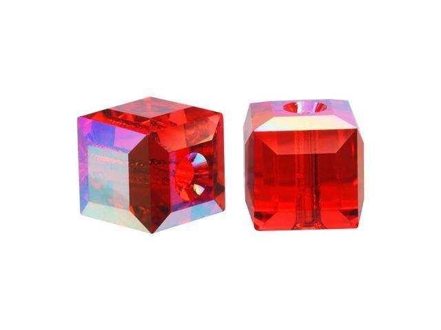 Swarovski Crystal, #5601 Cube Beads 6mm, 4 Pieces, Light Siam Red AB