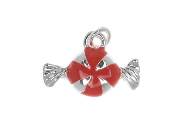 Silver Plated Enamel Charm Red Peppermint Candy 16mm