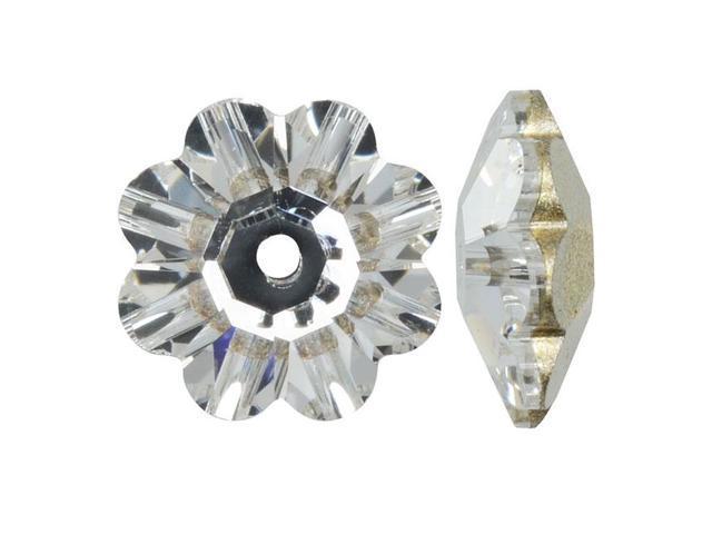 Swarovski Crystal, #3700 Flower Margarita Beads 10mm, 6 Pieces, Crystal Foiled