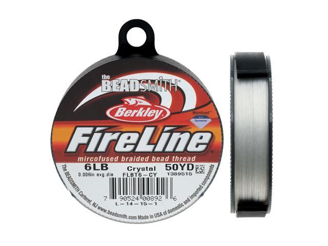 FireLine Braided Beading Thread, 6lb Test and 0.006 Thick, 50 Yd, Crystal Clear