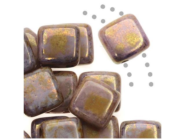 CzechMates Glass 2-Hole Square Tile Beads 6mm Opaque Gold / Smokey Topaz Luster (1 Strand)