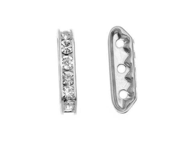 Silver Plated Triple Bead Strand Spacers With 6 Crystals