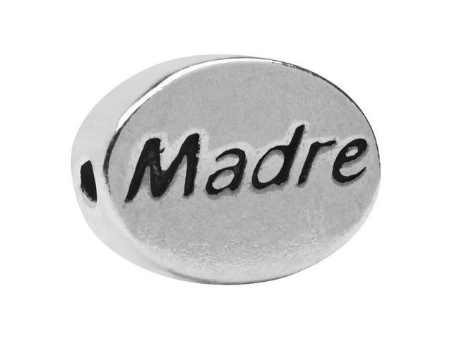 Sterling Silver Message Bead, 'Madre' (Mother) 11x8mm, 1 Piece, Antiqued Silver