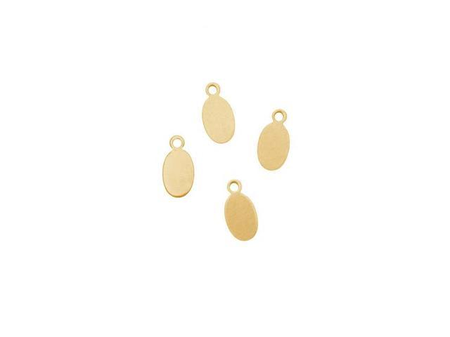 Solid Brass Small Oval Tag Pendant Blanks - 11x5.5mm 24 Gauge (4 Pieces)