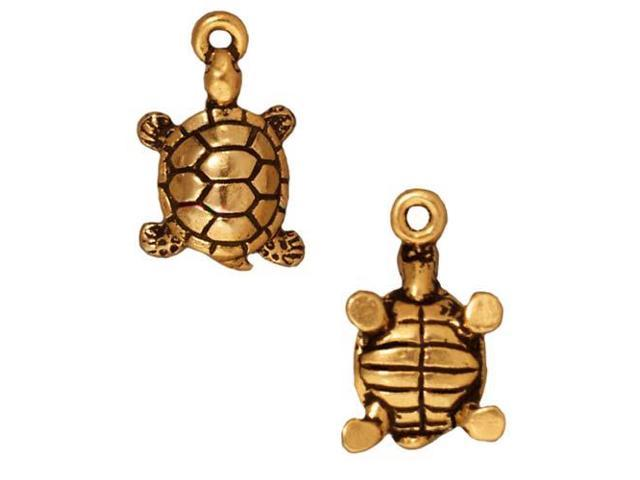 22K Gold Plated Pewter Lucky Turtle Charm 17.5mm (1)