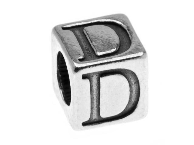 Sterling Silver, Alphabet Cube Bead Letter 'D' 4.5mm, 1 Piece, Antiqued