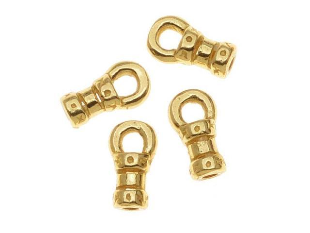 Gold Tone Brass Crimp Beads 1mm Loop Cord Ends (10)