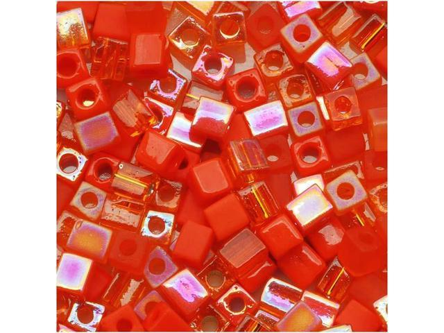 Miyuki 4mm Square Cube Bead Mix Lot Orange Medley 10 Gr