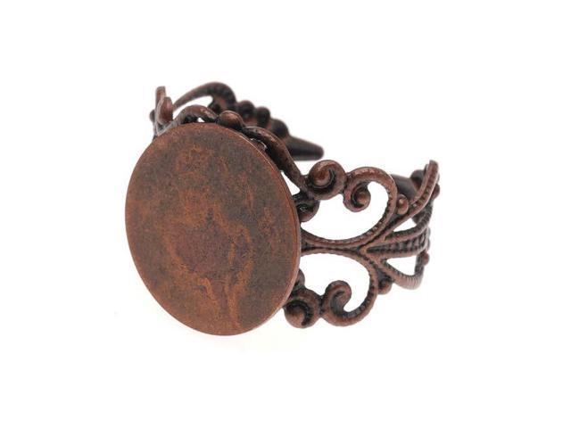 Antiqued Copper Color Ornate Scroll Filigree Ring/ 1