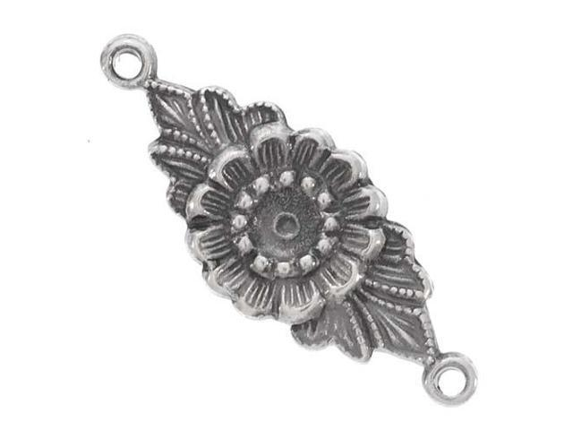 Antiqued Silver Plated Nouveau Flower Connector Links 22mm (4)