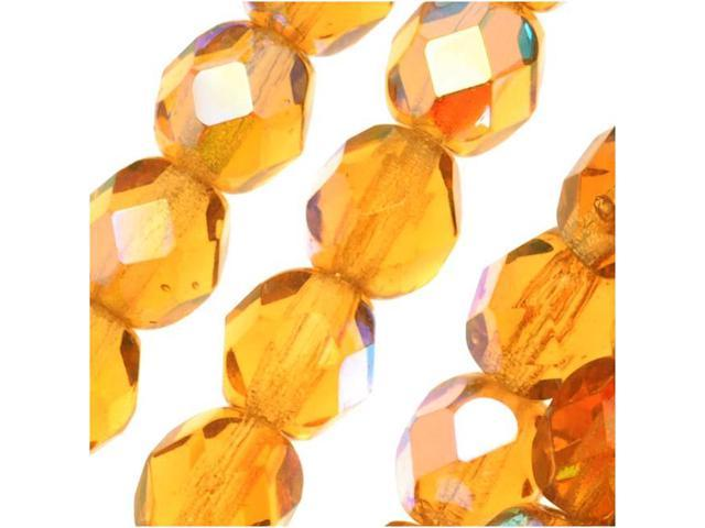 Czech Fire Polished Glass Beads 6mm Round Amber Topaz AB (25 Pieces)