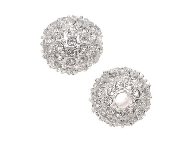 Beadelle Crystal 12mm Round Pave Bead Lg Hole Silver Plated / Crystal (1 Piece)