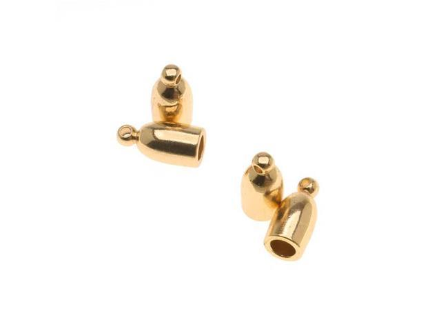 Gold Plated Bullet Cord Ends With Ring 10mm Long Fits Up To 3mm Cords - 4 Pieces