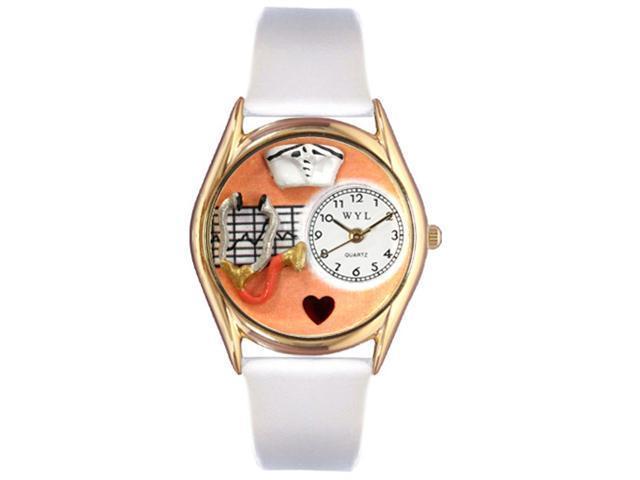 Nurse Orange White Leather And Goldtone Watch #C0610033