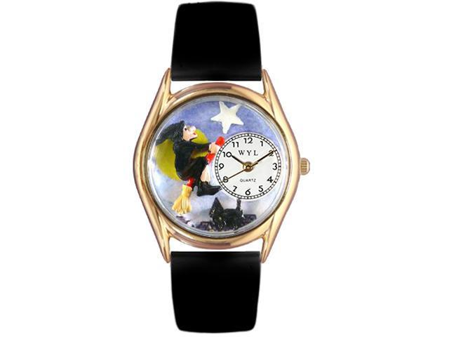 Halloween Flying Witch Black Leather And Goldtone Watch #C1220009
