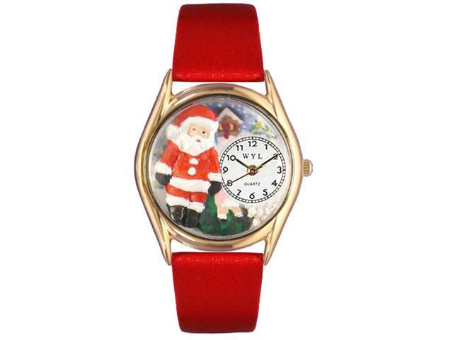Christmas Santa Claus Red Leather And Goldtone Watch #C1221001
