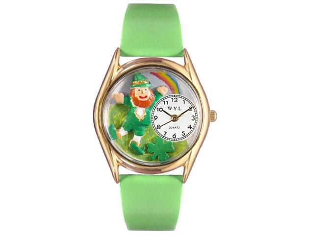 St.Patrick's Day Rainbow Green Leather And Goldtone Watch #C1224002