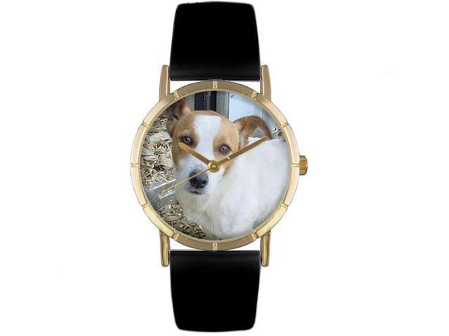 Jack Russel Black Leather And Goldtone Photo Watch #P0130048