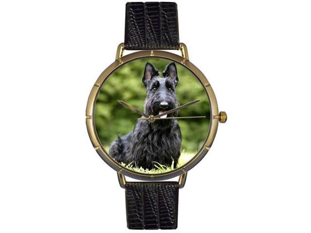 Scottie Black Leather And Goldtone Photo Watch #N0130067