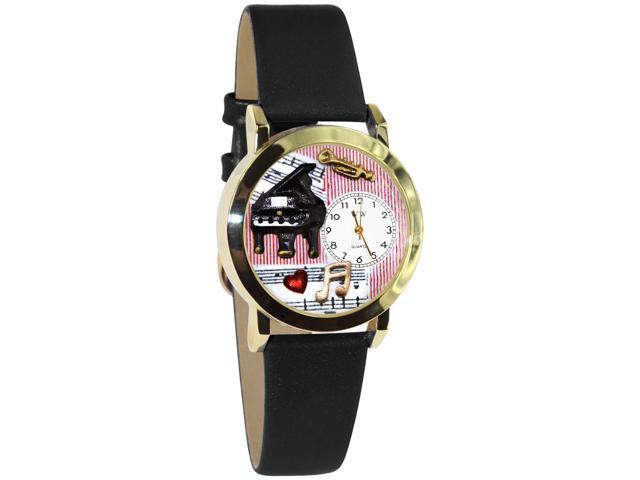 Music Teacher Black Leather And Goldtone Watch #C0640014