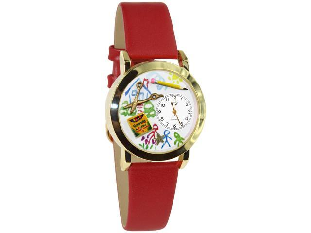 Preschool Teacher Red Leather And Goldtone Watch #C0640004