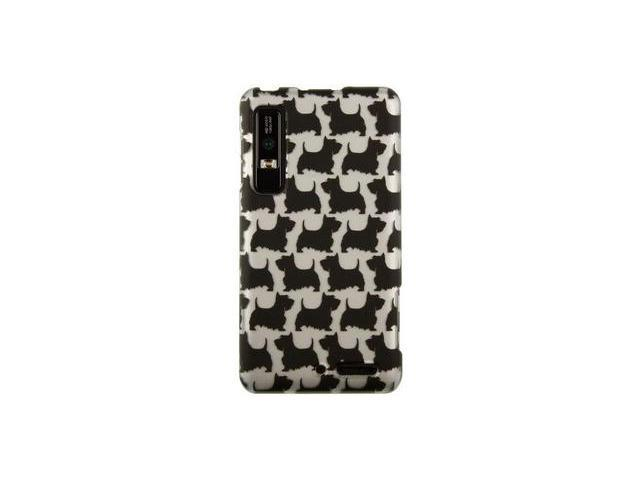 Rubber Coated Hard Polycarbonate Plastic Phone Protector Case with Silver Black Schnauzer Design for Motorola Droid 3