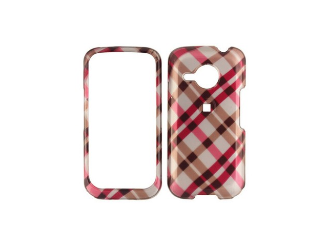 Snap On Plastic Phone Design Case Cover Hot Pink Plaid For HTC Droid Eris