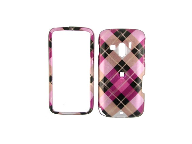 Solid Plastic Phone Design Cover Case Hot Pink Diagonal Checkers For T-Mobile Touch Pro 2