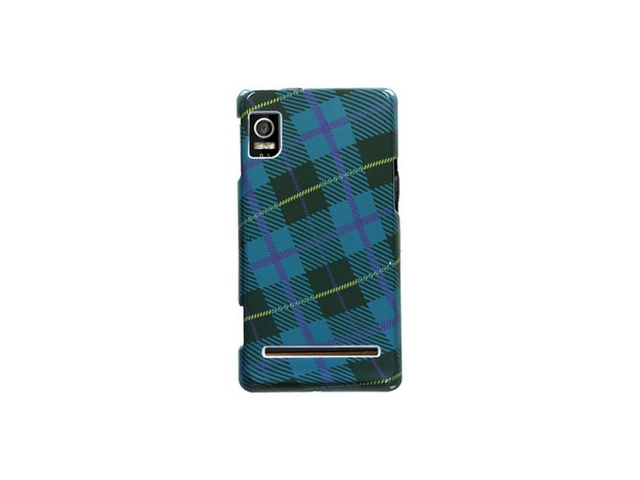 Solid Plastic Phone Image Protector Case Cover Blue Plaid Weave For Motorola Droid 2
